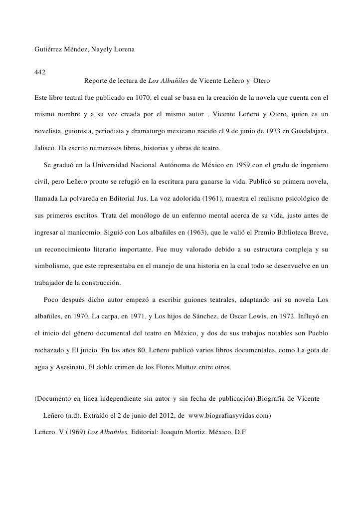 Gutiérrez Méndez, Nayely Lorena442                 Reporte de lectura de Los Albañiles de Vicente Leñero y OteroEste libro...