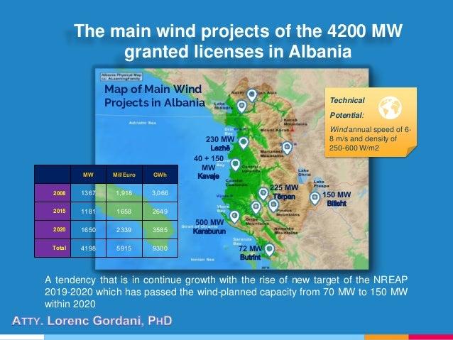 Map of Main Wind Projects in Albania 150 MW Bilisht 225 MW Tërpan 500 MW Karaburun 40 + 150 MW Kavaje 230 MW Lezhë 72 MW B...
