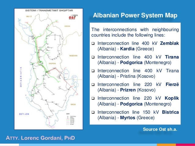 The interconnections with neighbouring countries include the following lines:  Interconnection line 400 kV Zemblak (Alban...