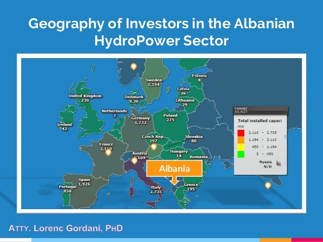 Geography of Investors in the Albanian HydroPower Sector Albania