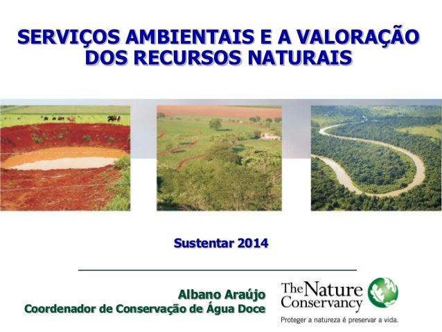 SERVIÇOS AMBIENTAIS E A VALORAÇÃO DOS RECURSOS NATURAIS Sustentar 2014 Albano Araújo Coordenador de Conservação de Água Do...