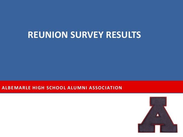 REUNION SURVEY RESULTSALBEMARLE HIGH SCHOOL ALUMNI ASSOCIATION