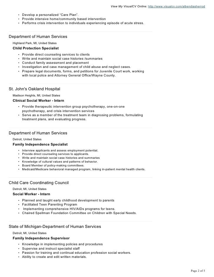 albendia sherrod visual cv resume1 - Child Welfare Specialist Sample Resume