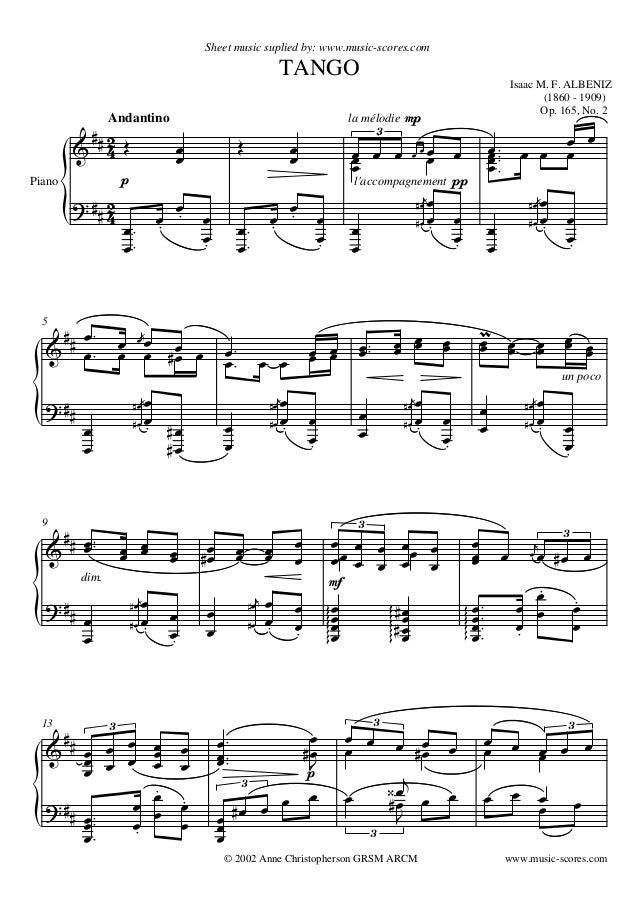    Isaac M. F. ALBENIZ (1860 - 1909) Op. 165, No. 2 Sheet music suplied by: www.music-scores.com TANGO Andantino © 200...