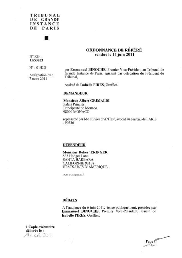 TRIBUNAL  DE GRANDE  INSTANCE  DE PARIS             •                                     ORDONNANCE DE RÉFÉRÉ  N°RG:     ...
