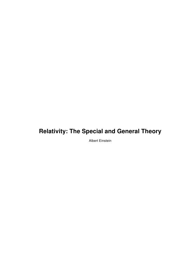 Relativity: The Special and General Theory                  Albert Einstein