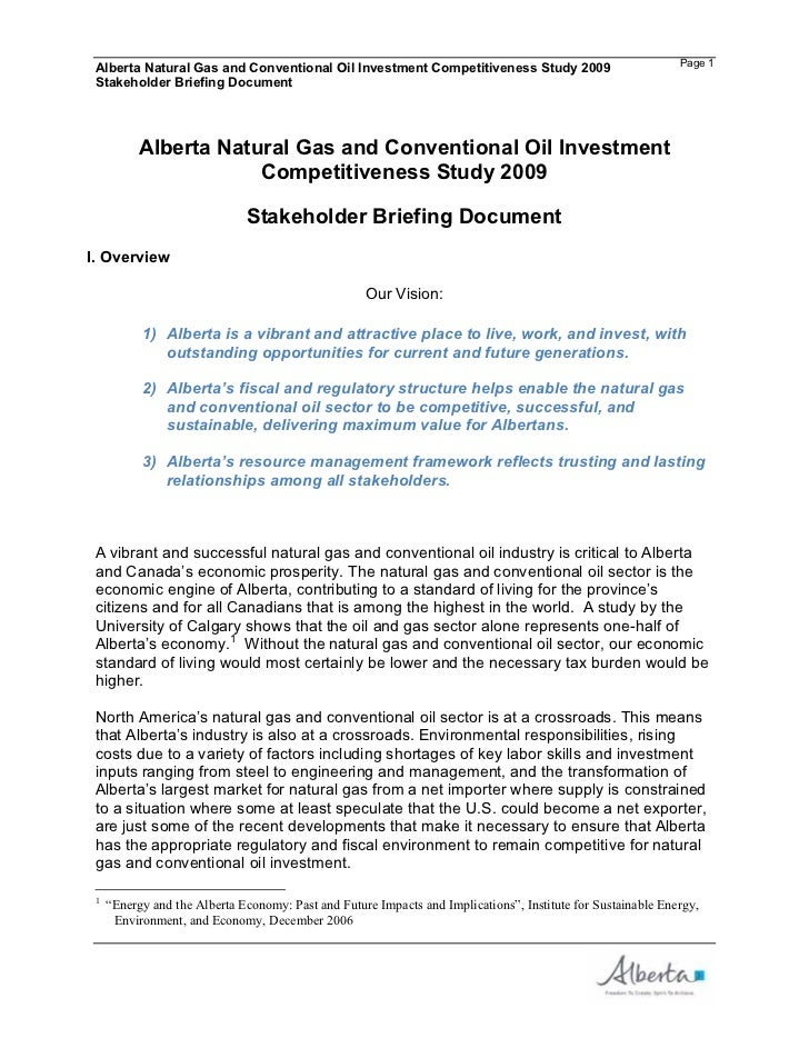 Alberta Natural Gas and Conventional Oil Investment Competitiveness Study 2009                               Page 1 Stakeh...