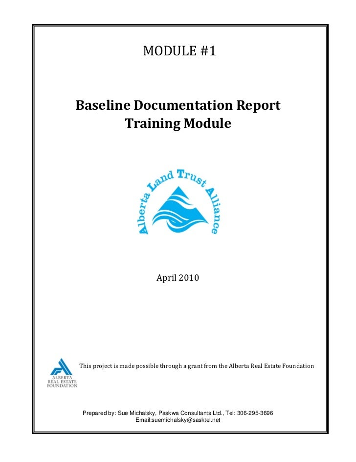 MODULE #1Baseline Documentation Report       Training Module                            April 2010This project is made pos...