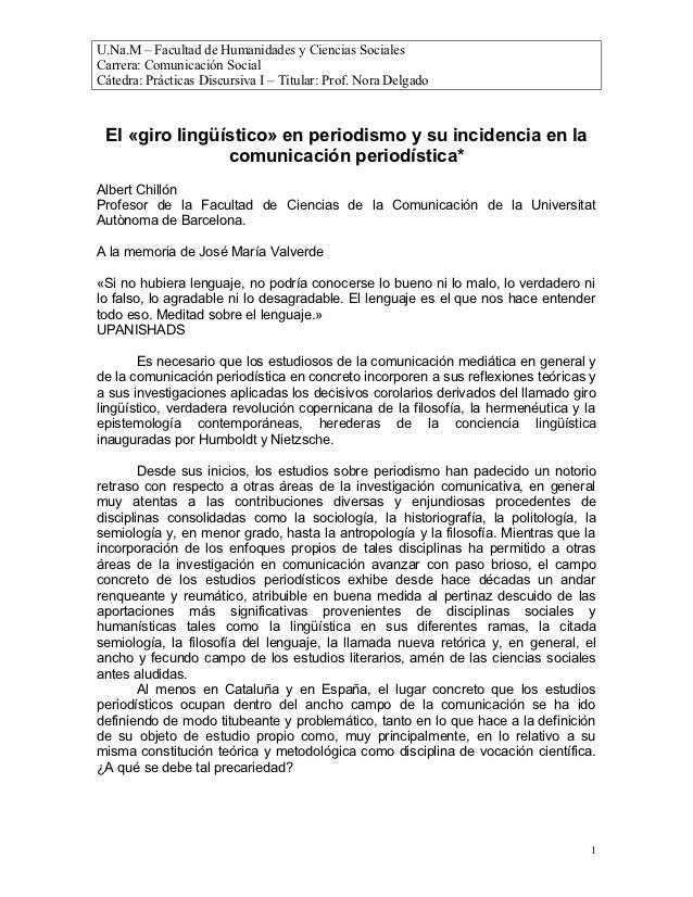 U.Na.M – Facultad de Humanidades y Ciencias SocialesCarrera: Comunicación SocialCátedra: Prácticas Discursiva I – Titular:...