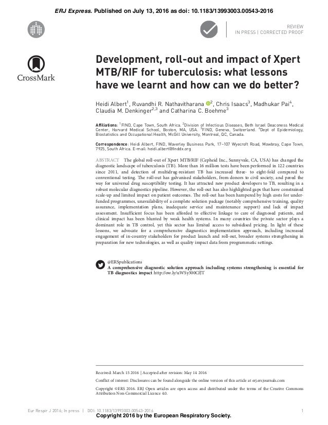 Development, roll-out and impact of Xpert MTB/RIF for tuberculosis: what lessons have we learnt and how can we do better? ...