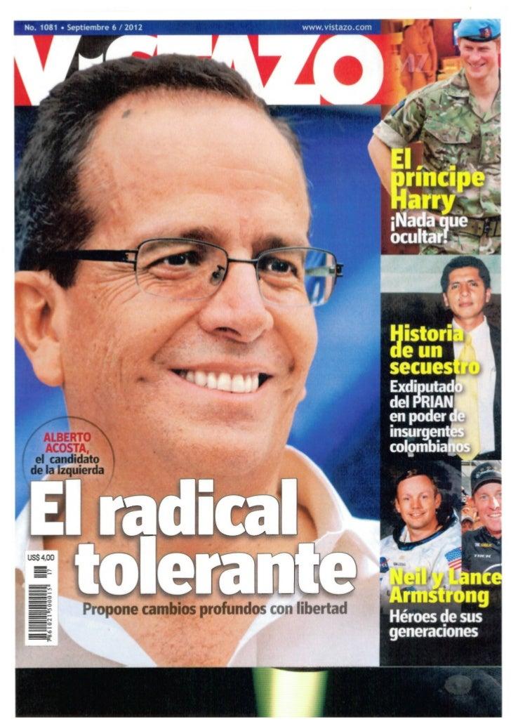 Alberto Acosta, Revista Vistazo sep 2012