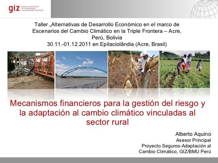 Mecanismos financieros para la gestión del riesgo y la adaptación al cambio climático vinculadas al sector rural Alberto A...
