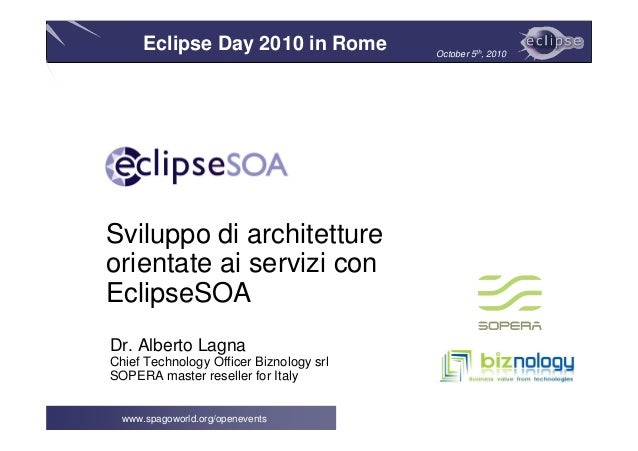 Eclipse Day 2010 in Rome October 5th, 2010 www.spagoworld.org/openevents Dr. Alberto Lagna Chief Technology Officer Biznol...