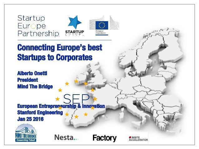 Connecting Europe's best Startups to Corporates   Alberto Onetti President Mind The Bridge   European Entrepreneurship & I...