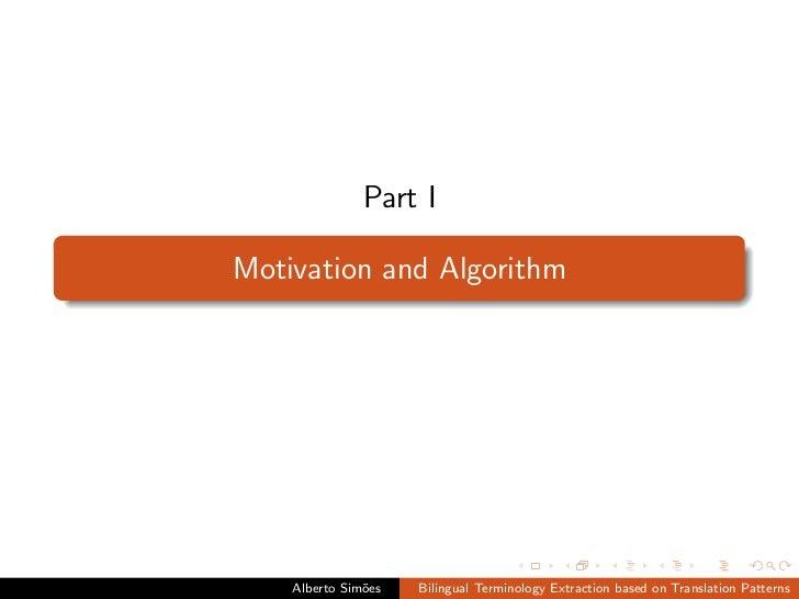 Bilingual Terminology Extraction based on Translation Patterns Slide 2