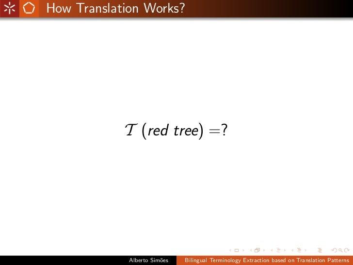 Bilingual Terminology Extraction based on Translation Patterns Slide 3