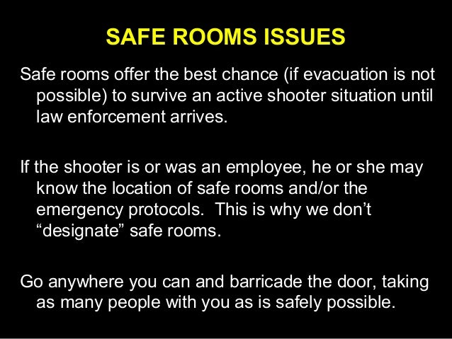The Safe Room Response to Active Shooters in the Workplace Slide 2