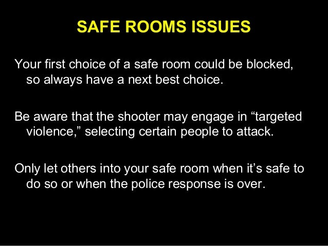 The Safe Room Response to Active Shooters in the Workplace Slide 3
