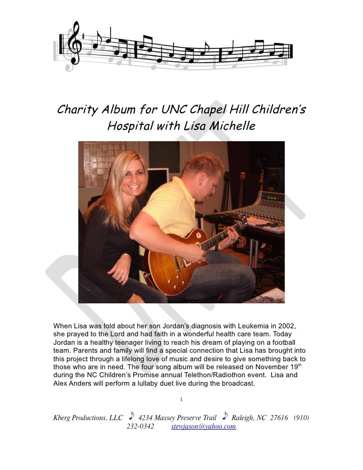Charity Album for UNC Chapel Hill Children's           Hospital with Lisa Michelle     When Lisa was told about her son Jo...