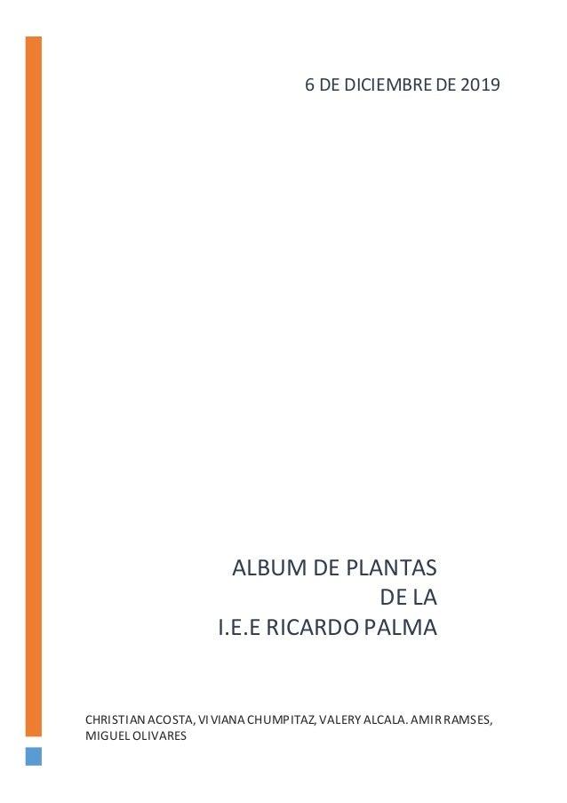 ALBUM DE PLANTAS DE LA I.E.E RICARDO PALMA CHRISTIANACOSTA,VIVIANA CHUMPITAZ, VALERYALCALA. AMIRRAMSES, MIGUEL OLIVARES 6 ...