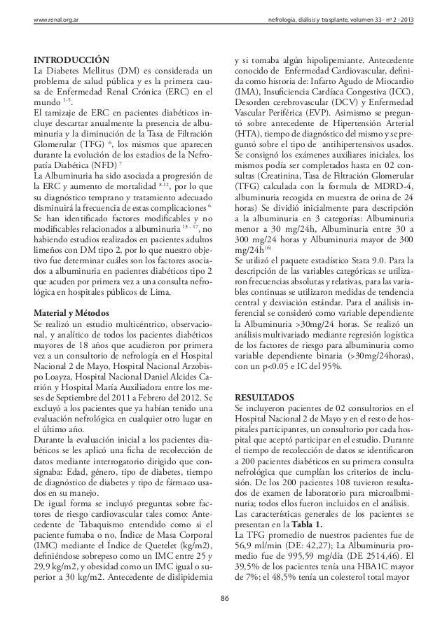 Albuminuria en pacientes diabeticos en Lima