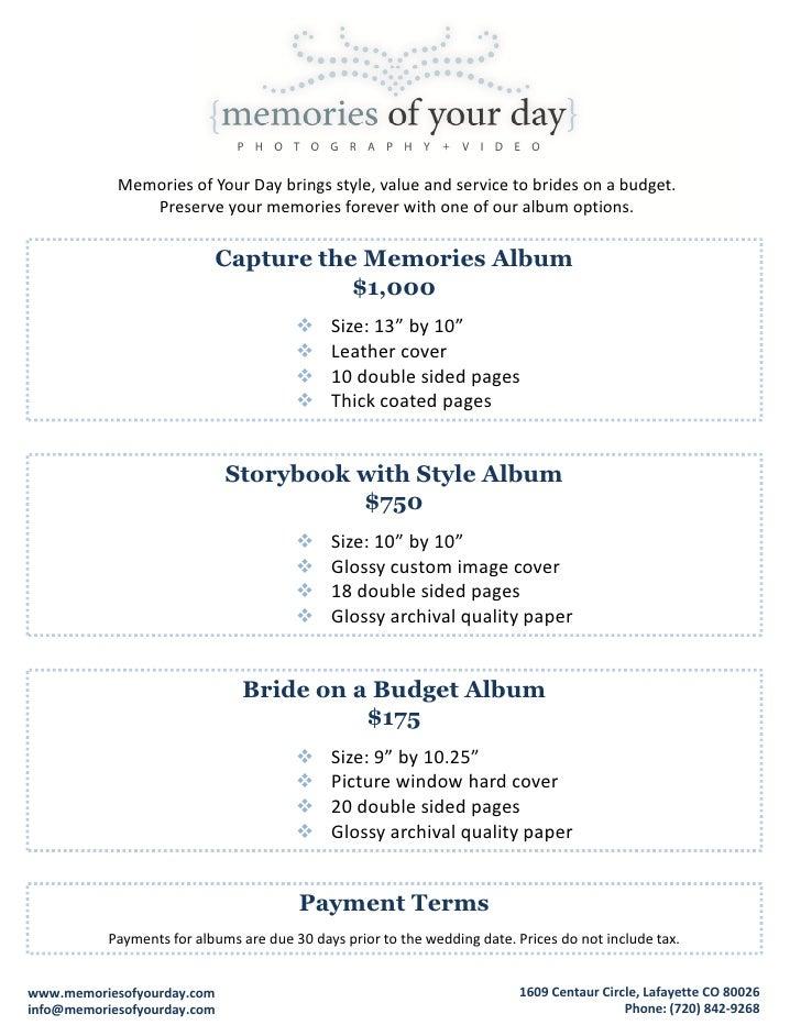 Wedding Album Pricing