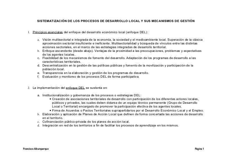 SISTEMATIZACIÓN DE LOS PROCESOS DE DESARROLLO LOCAL Y SUS MECANISMOS DE GESTIÓN    1. Principios esenciales del enfoque de...