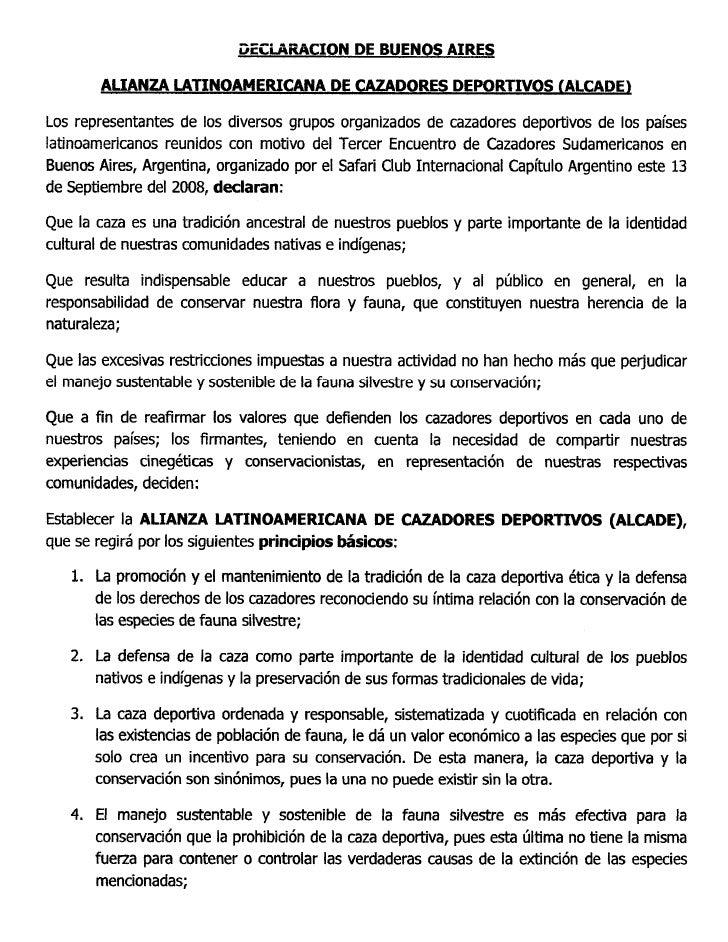 Alcade Declaracion De Buenos Aires