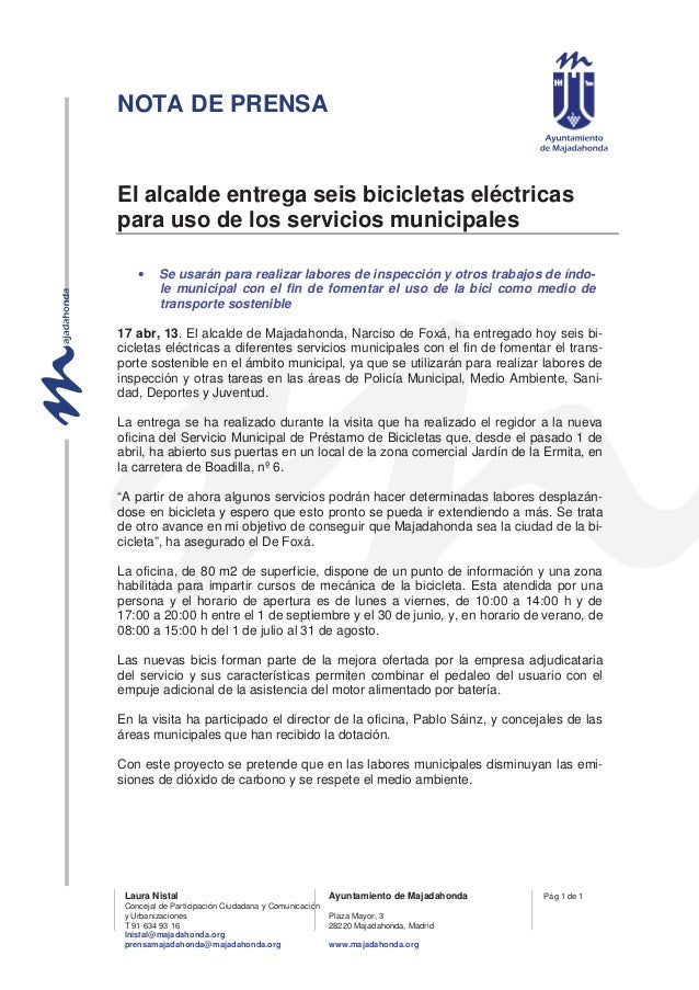 NOTA DE PRENSALaura Nistal Ayuntamiento de MajadahondaConcejal de Participación Ciudadana y Comunicacióny Urbanizaciones P...