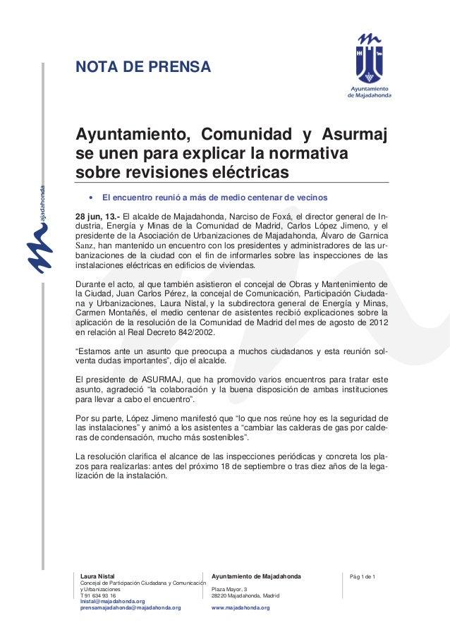 NOTA DE PRENSA Laura Nistal Ayuntamiento de Majadahonda Concejal de Participación Ciudadana y Comunicación y Urbanizacione...