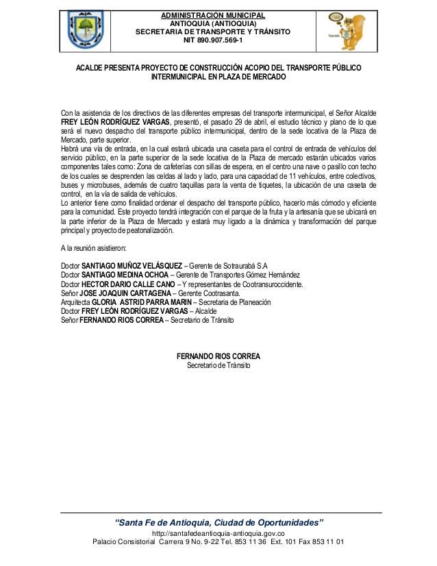 "ADMINISTRACIÓN MUNICIPAL ANTIOQUIA (ANTIOQUIA) SECRETARIA DE TRANSPORTE Y TRÁNSITO NIT 890.907.569-1 ""Santa Fe de Antioqui..."