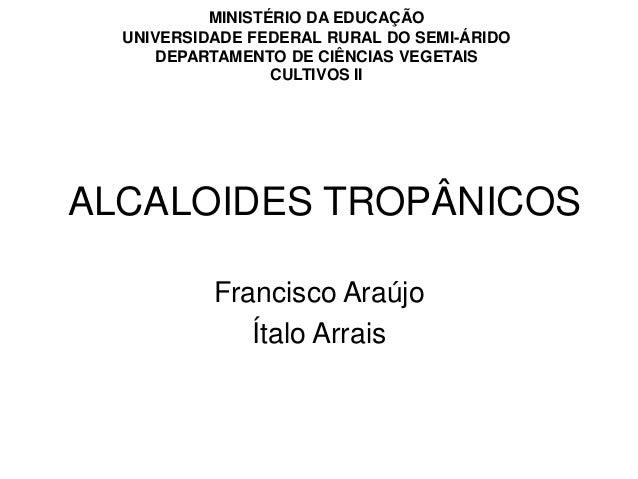 ALCALOIDES TROPÂNICOS Francisco Araújo Ítalo Arrais MINISTÉRIO DA EDUCAÇÃO UNIVERSIDADE FEDERAL RURAL DO SEMI-ÁRIDO DEPART...