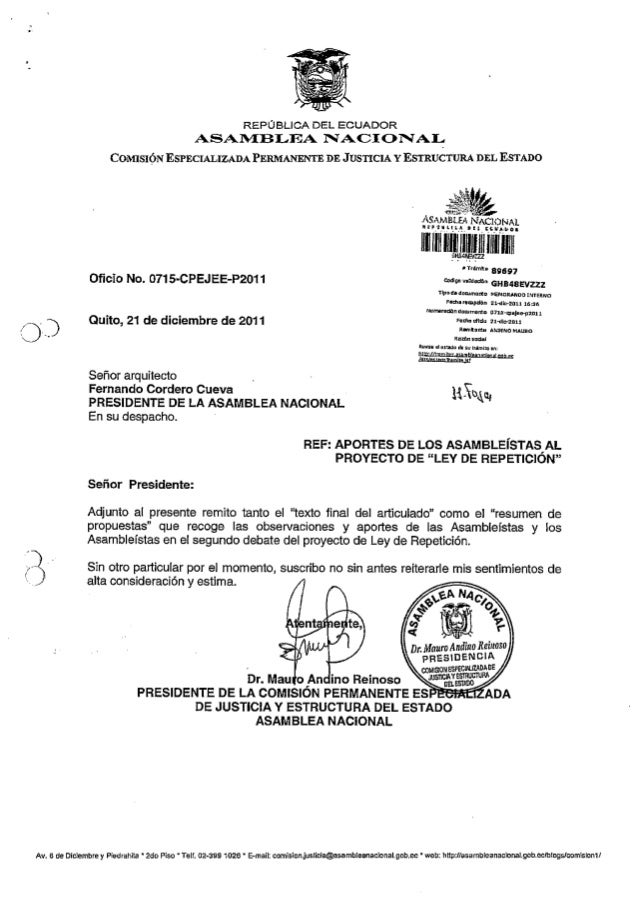 Ley de Repetición - Alcance informe segundo debate tr. 89697