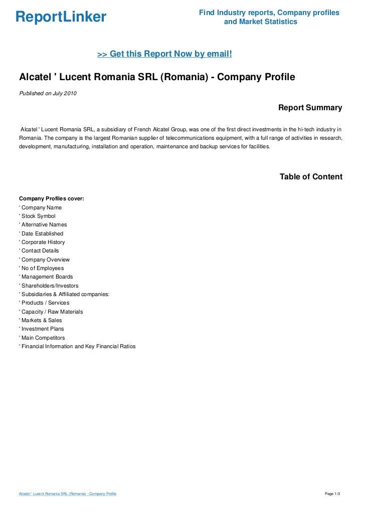Alcatel Lucent Romania Srl Romania Company Profile