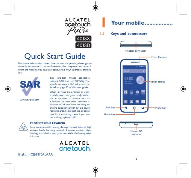 1 2 English - CJB2870ALAAA Quick Start Guide For more information about how to use the phone, please go to www.alcatelonet...