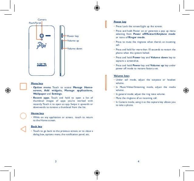 Alcatel OneTouch PIXI 3 Manual / User Guide Slide 2