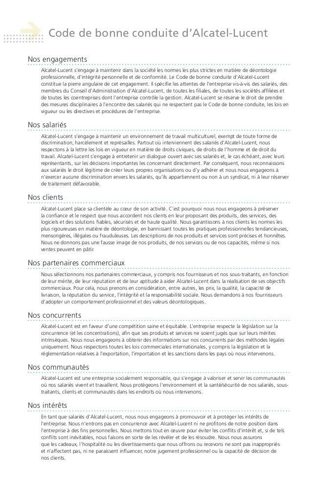 Alcatel Lucent Code de bonne conduite Slide 2