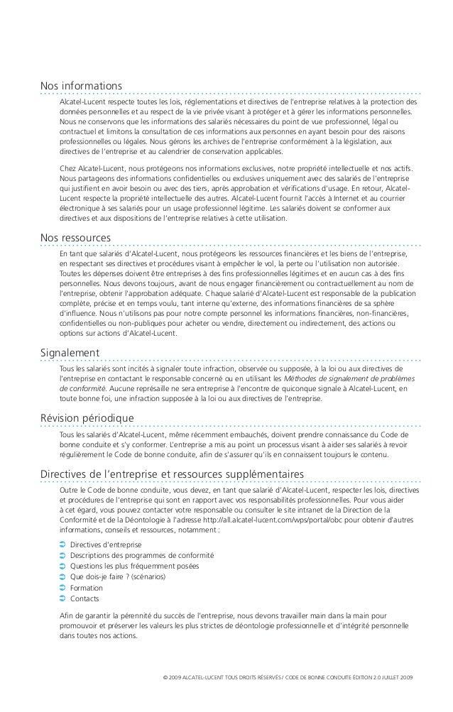 Alcatel Lucent Code de bonne conduite Slide 3