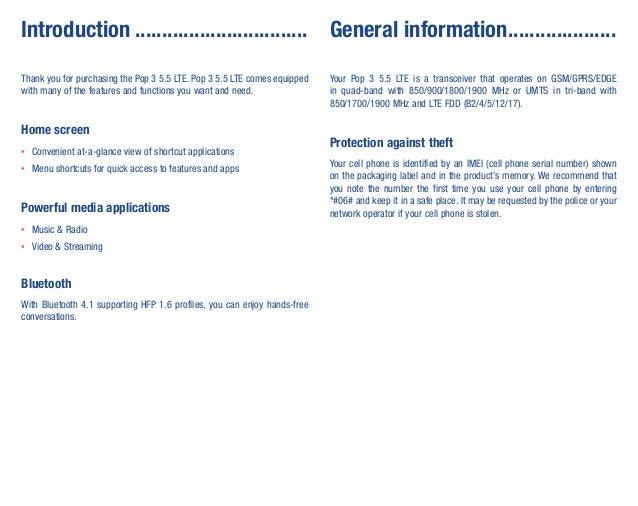 Alcatel Pop 3 (5.5) LTE Manual / User Guide Slide 2