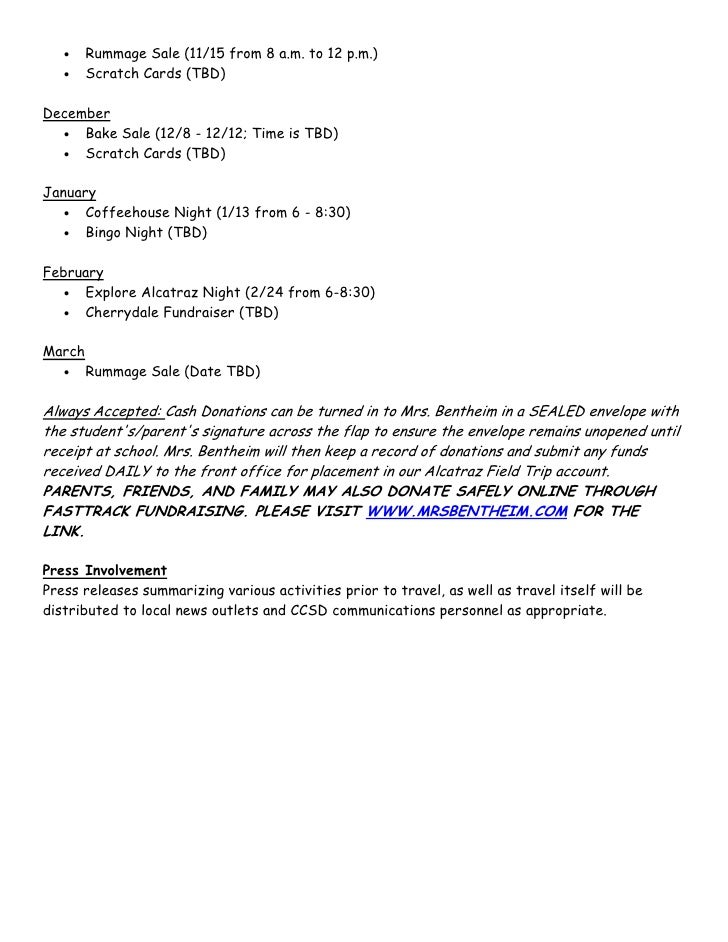 sample proposal for a field trip Checklist, student roster form and sample field trip description with itinerary 1 description of field trip activities a full description of the proposed activity will include the following:  school field trip procedures school school  school district  the  field trip  the .