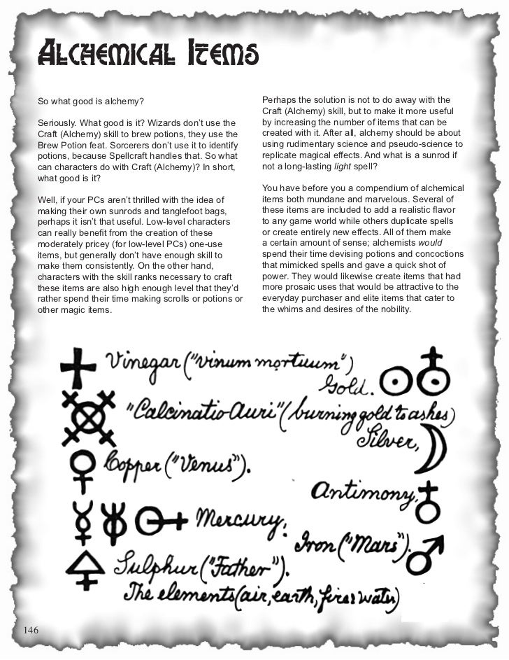 Alchemical Items  So what good is alchemy?                               Perhaps the solution is not to do away with the  ...