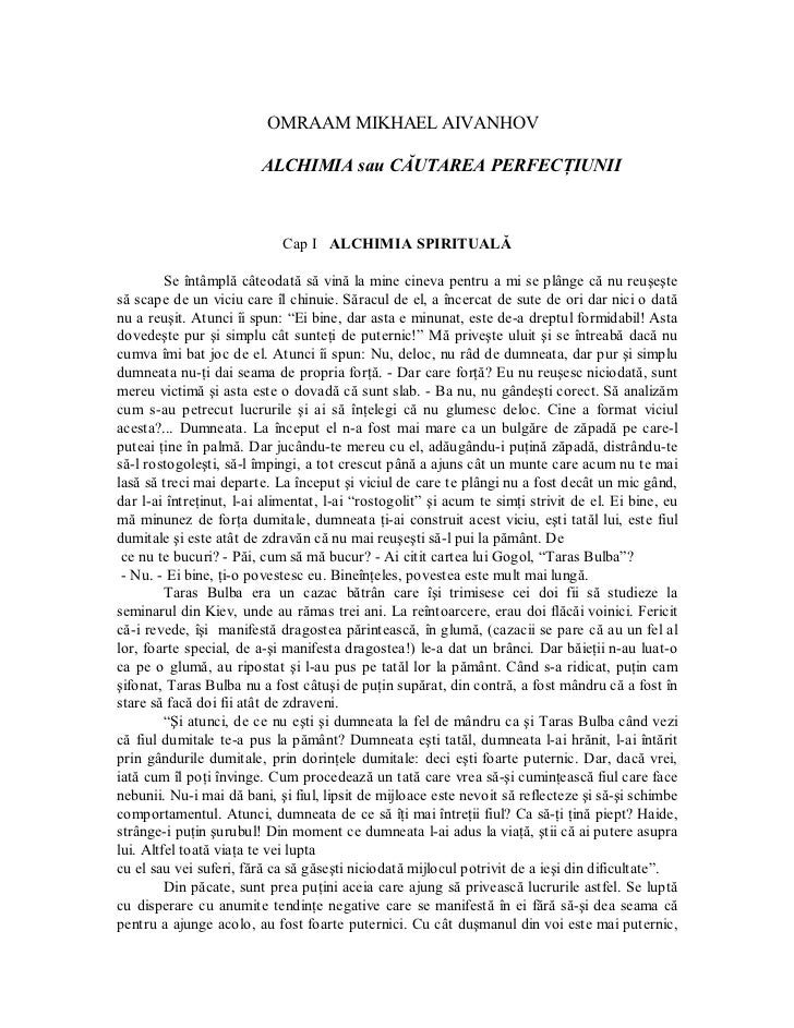 OMRAAMMIKHAELAIVANHOV                          ALCHIMIAsauCĂUTAREAPERFECŢIUNII                              CapI ...