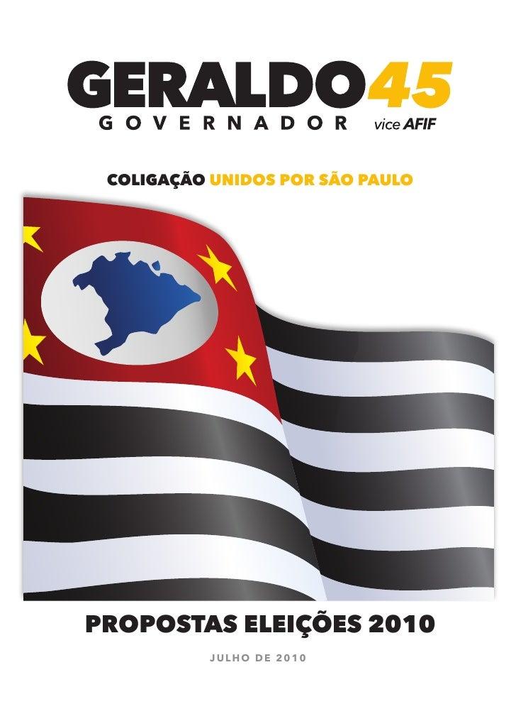 coligação unidos por são paulo     propostas eleições 2010            Julho de 2010