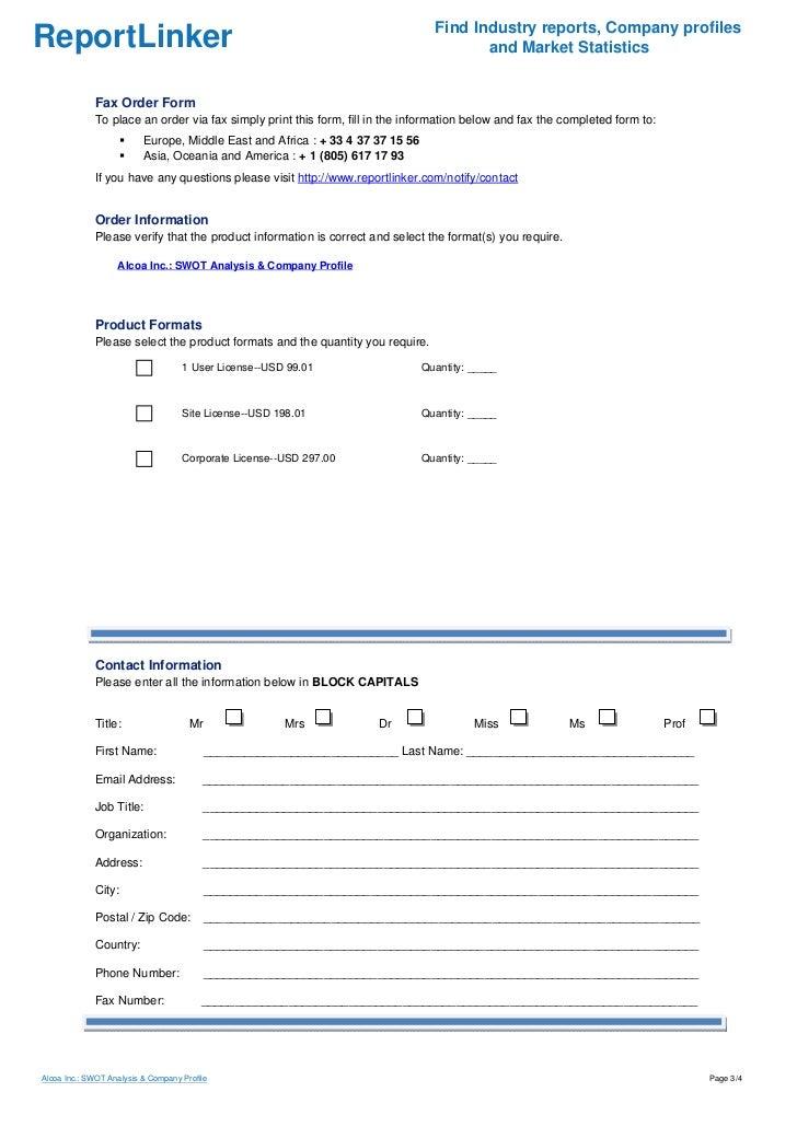 Alcoa Inc : SWOT Analysis & Company Profile