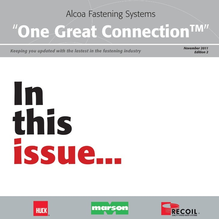 """Alcoa Fastening Systems                          Alcoa Fastening Systems                                    """"One Great Con..."""
