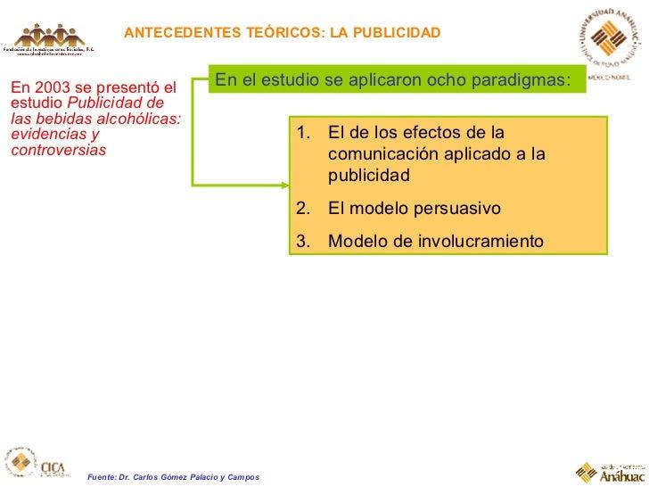 ANTECEDENTES TEÓRICOS: LA PUBLICIDAD En 2003 se presentó el estudio  Publicidad de las bebidas alcohólicas: evidencias y c...