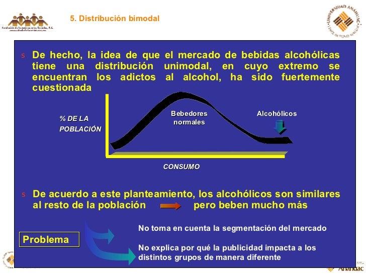 5. Distribución bimodal <ul><li>De hecho, la idea de que el mercado de bebidas alcohólicas tiene una distribución unimodal...