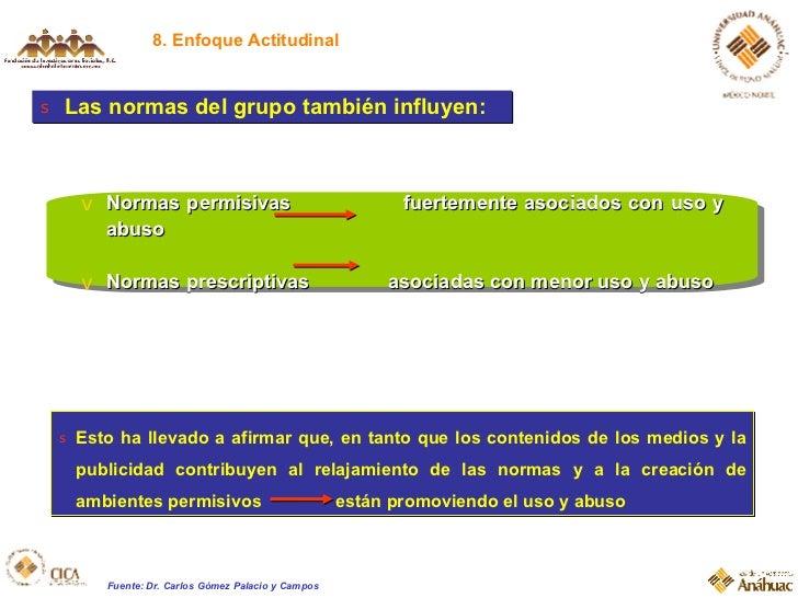 8. Enfoque Actitudinal <ul><li>Las normas del grupo también influyen: </li></ul><ul><li>Esto ha llevado a afirmar que, en ...