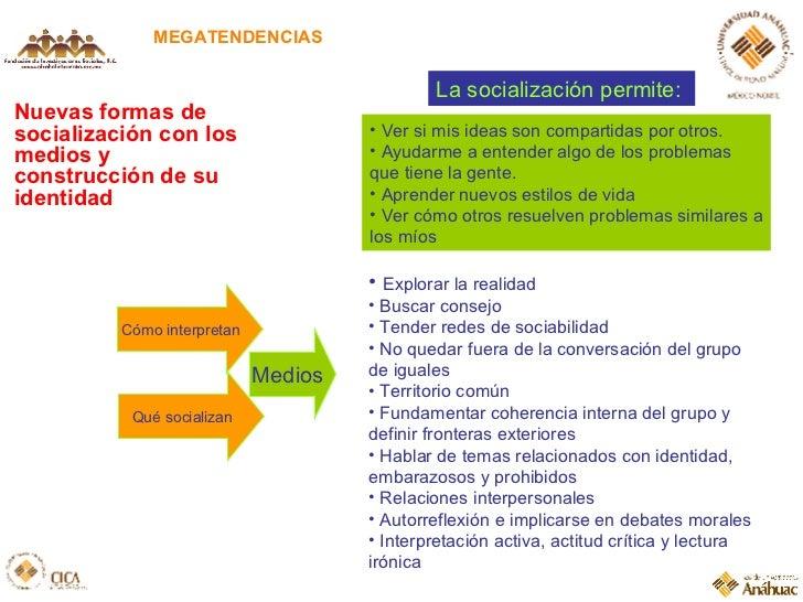 Nuevas formas de socialización con los medios y construcción de su identidad MEGATENDENCIAS La socialización permite:  <ul...