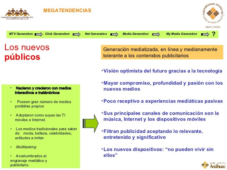 MEGATENDENCIAS Los nuevos  públicos MTV Generation Click Generation Net Generation Media Generation My Media Generation ? ...
